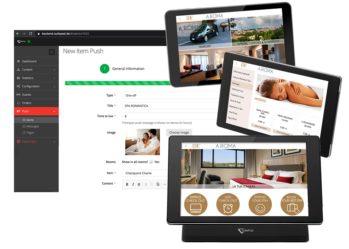 SuitePad fare upselling in hotel